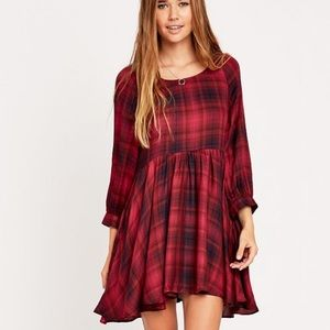 Cooperative Urban Outfitters Plaid Babydoll Dress